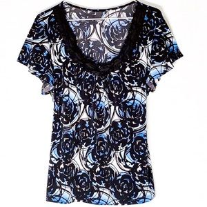 STYLE & CO Blouse floral scoop neck